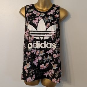 Adidas floral muscle tank top size xs